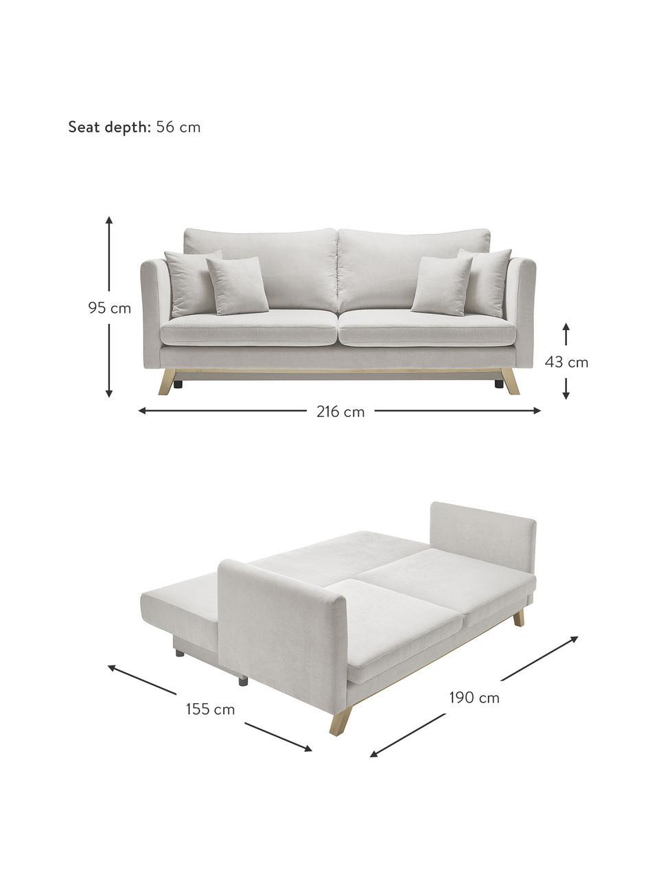 Sofa rozkładana z miejscem do przechowywania Triplo (3-osobowa), Tapicerka: 100% poliester, w dotyku , Nogi: metal lakierowany, Beżowy, S 216 x G 105 cm