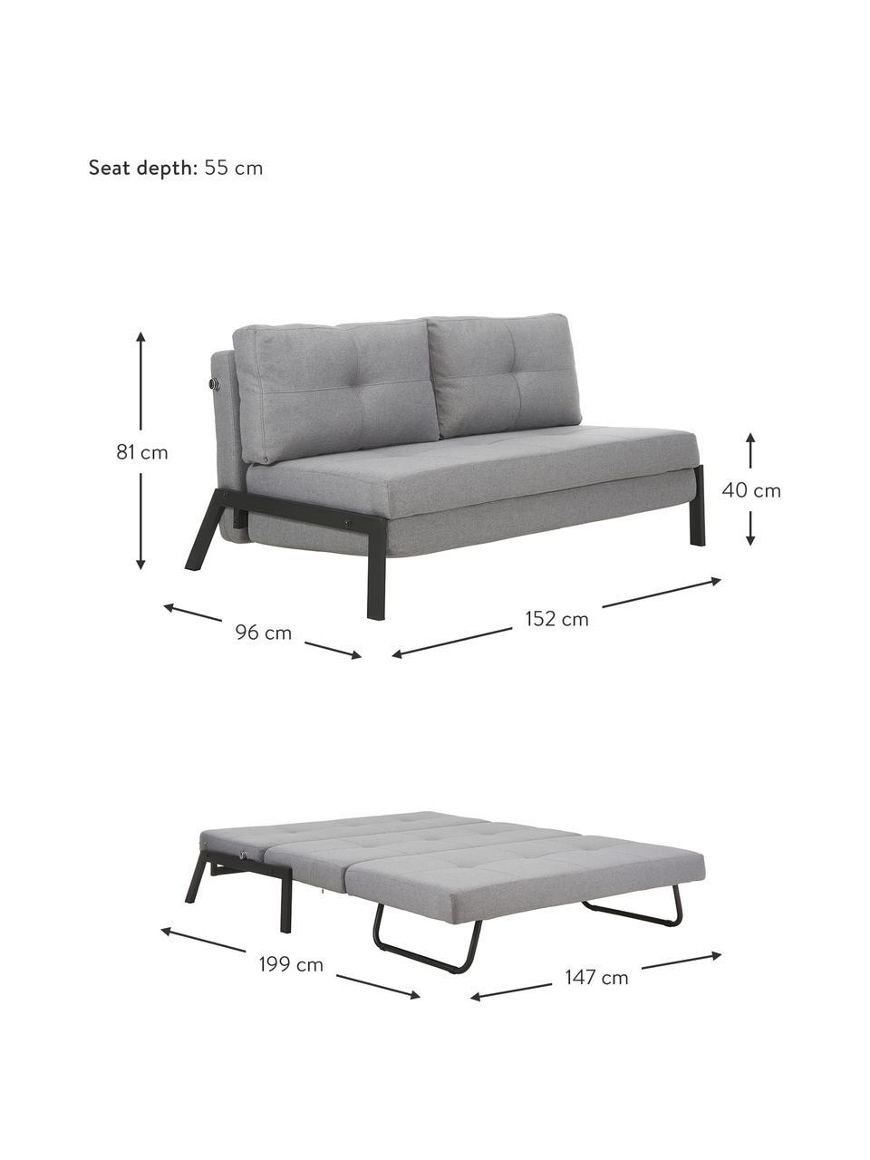 Sofa rozkładana z metalowymi nogami Edward, Tapicerka: 100% poliester 40000 cyk, Jasny szary, S 152 x G 96 cm