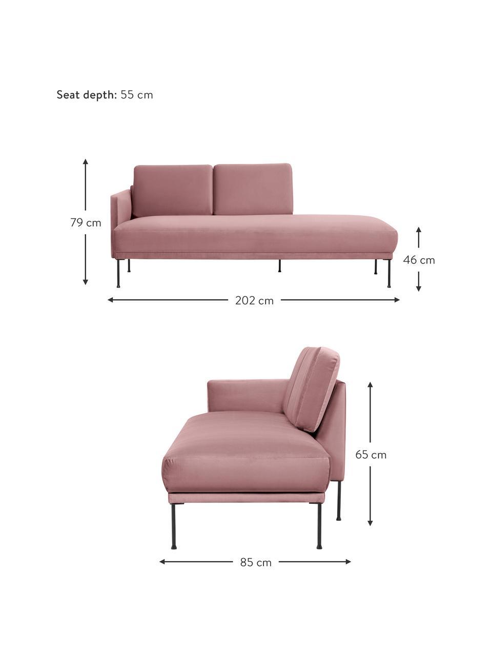 Fluwelen chaise longue Fluente in roze met metalen poten, Bekleding: fluweel (hoogwaardig poly, Frame: massief grenenhout, Poten: gepoedercoat metaal, Fluweel roze, B 202 x D 85 cm