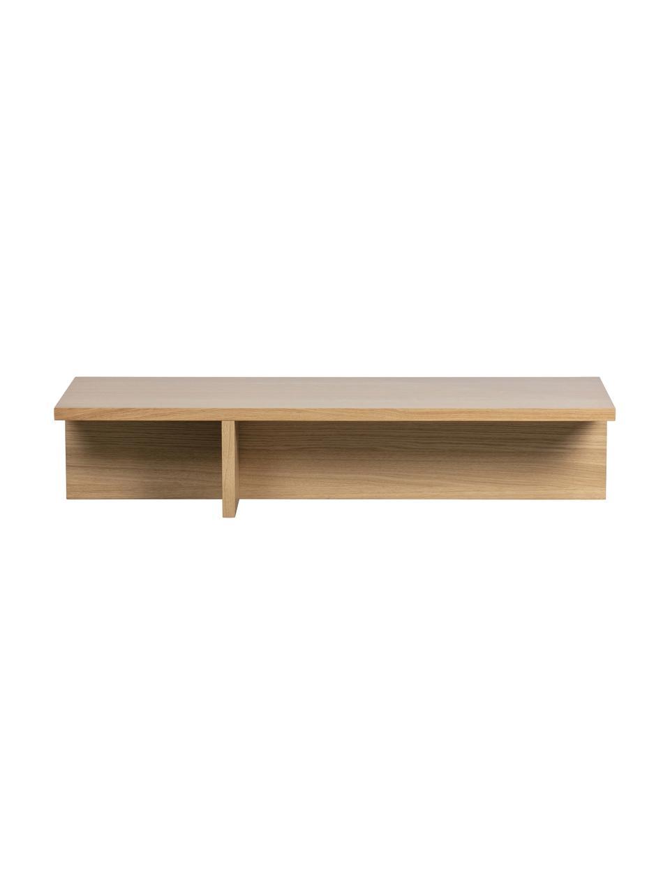 Tavolino da salotto moderno con finitura in quercia Angle, Pannello di fibra a media densità (MDF) con finitura in noce, Marrone chiaro, Larg. 135 x Alt. 27 cm