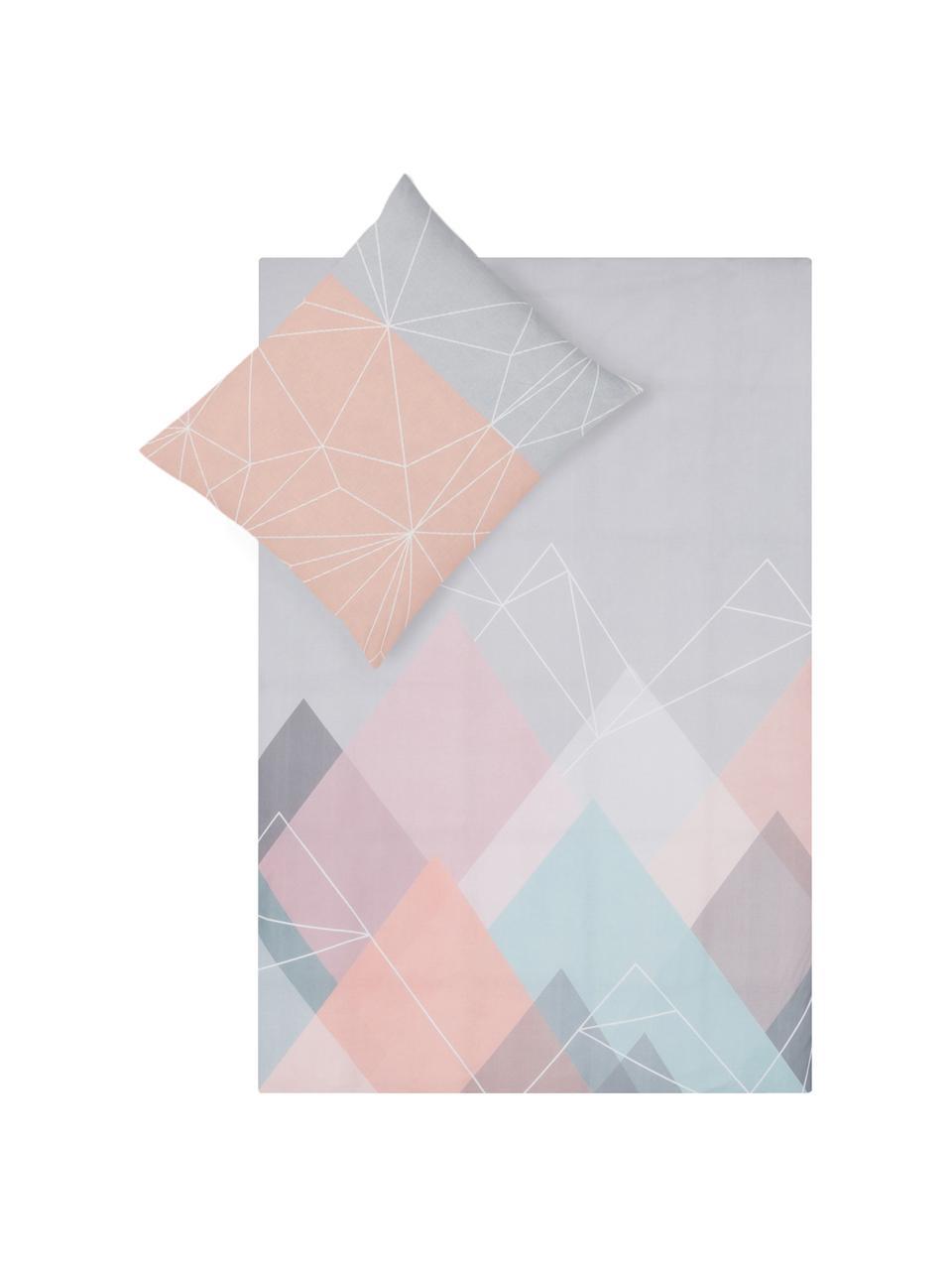 Dubbelzijdig dekbedovertrek Range, Katoen, Bovenzijde: multicolour. Onderzijde: wit, 140 x 200 cm + 2 kussen 60 x 70 cm