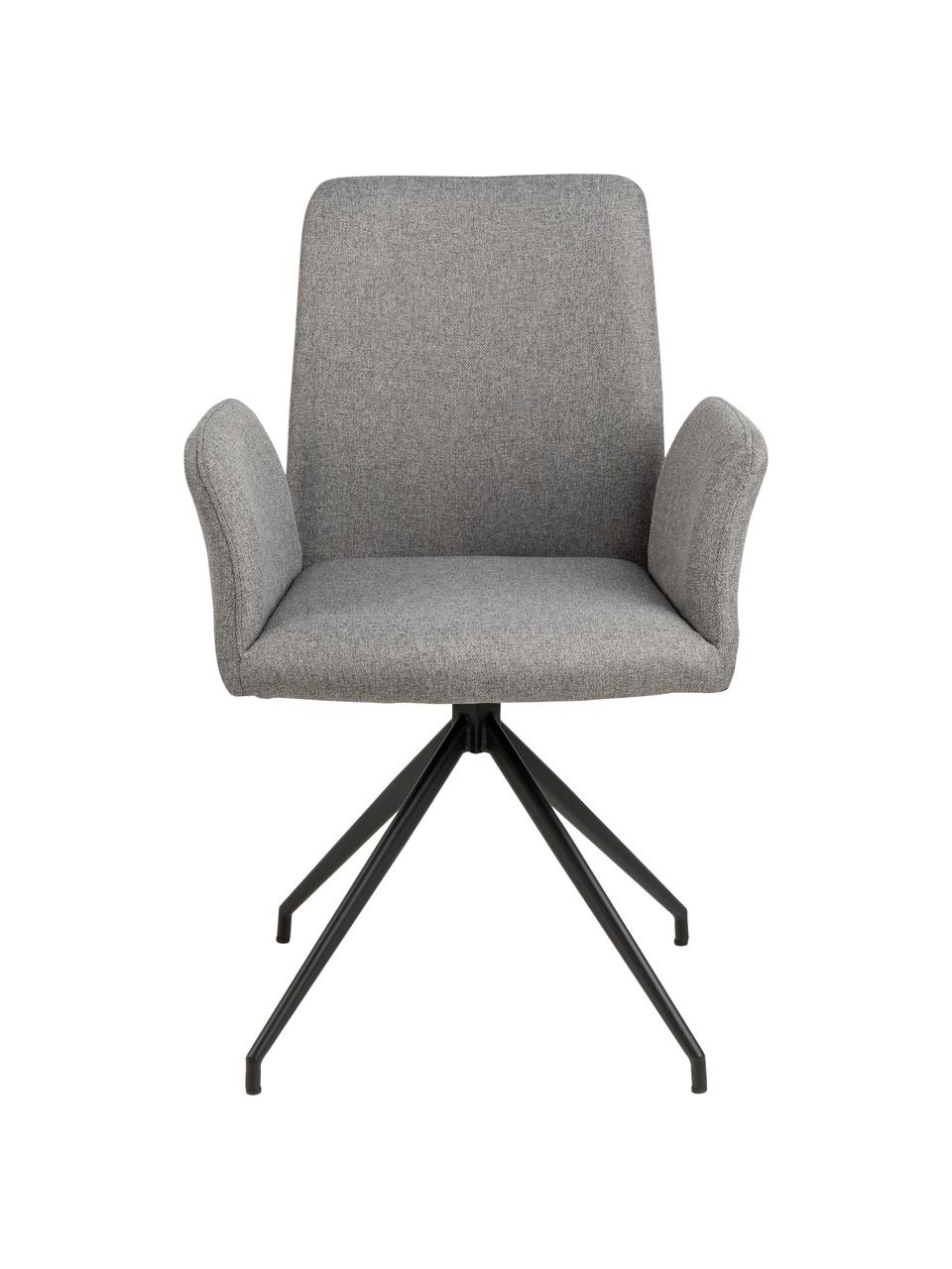 Tapicerowane krzesło obrotowe Naya, Tapicerka: poliester Dzięki tkaninie, Stelaż: metal malowany proszkowo, Jasny szary, S 59 x G 59 cm