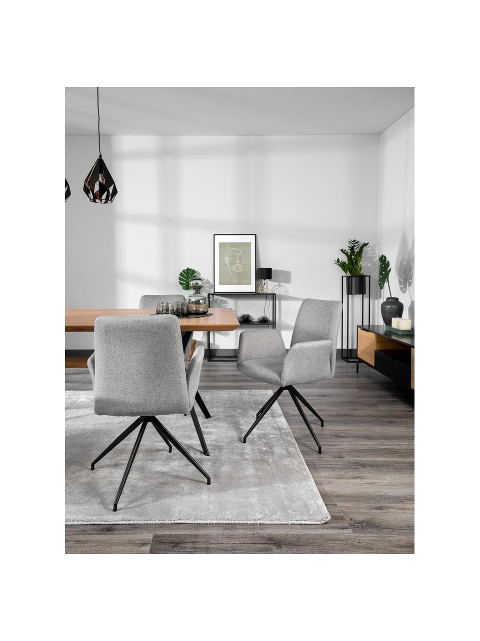Obrotowe krzesło tapicerowane Naya, Tapicerka: poliester Dzięki tkaninie, Stelaż: metal malowany proszkowo, Jasny szary, S 59 x G 59 cm