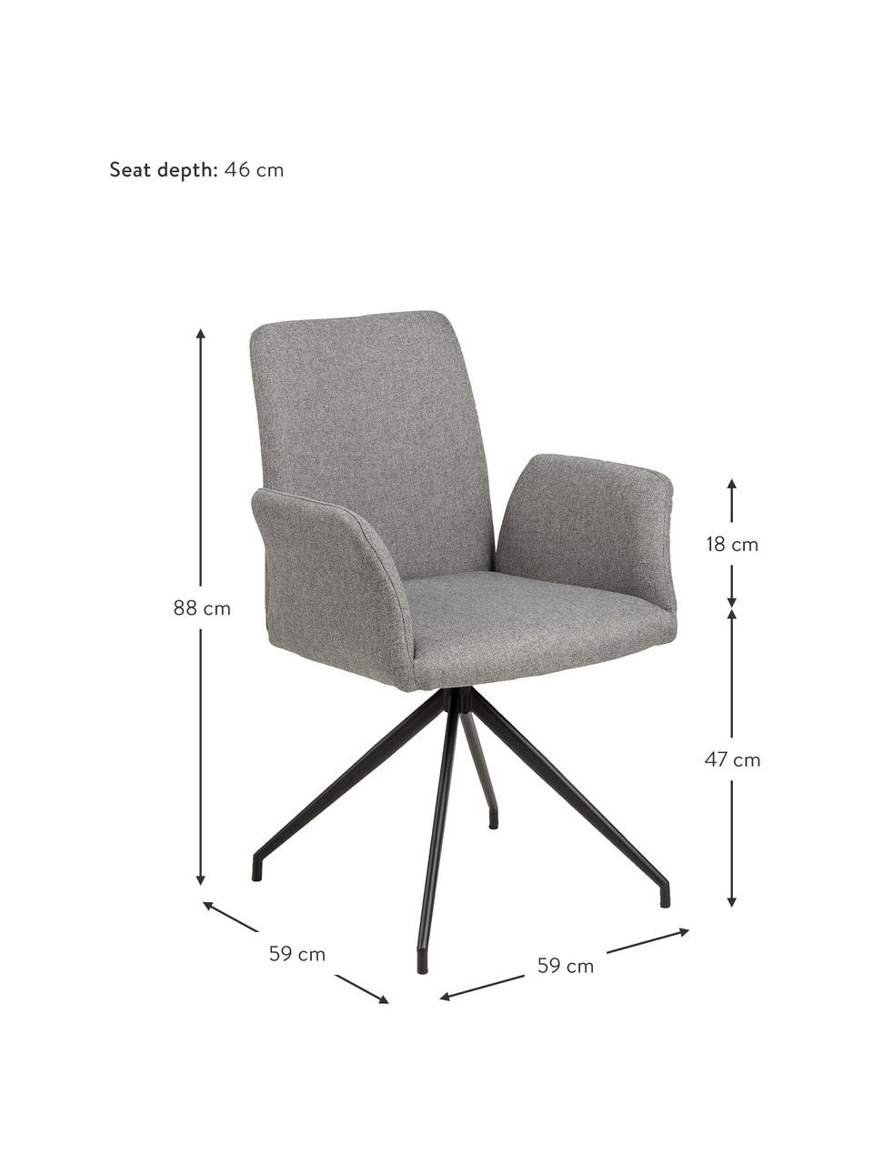 Chaise pivotante rembourrée Naya, Tissu gris clair