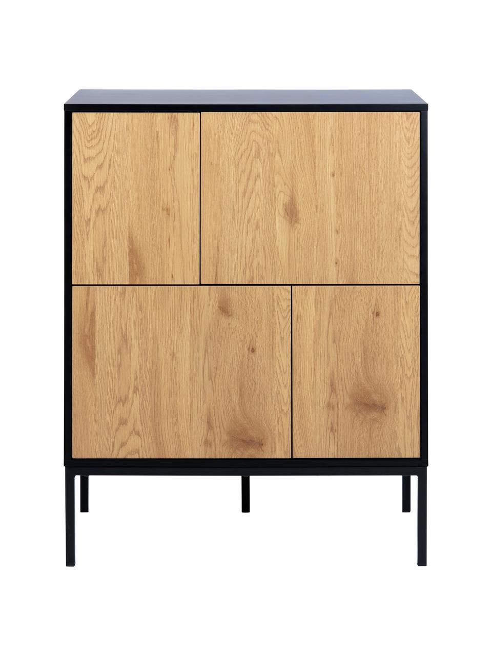 Credenza in legno e metallo Seaford, Piedini: metallo verniciato a polv, Nero, quercia selvatica, Larg. 80 x Alt. 103 cm