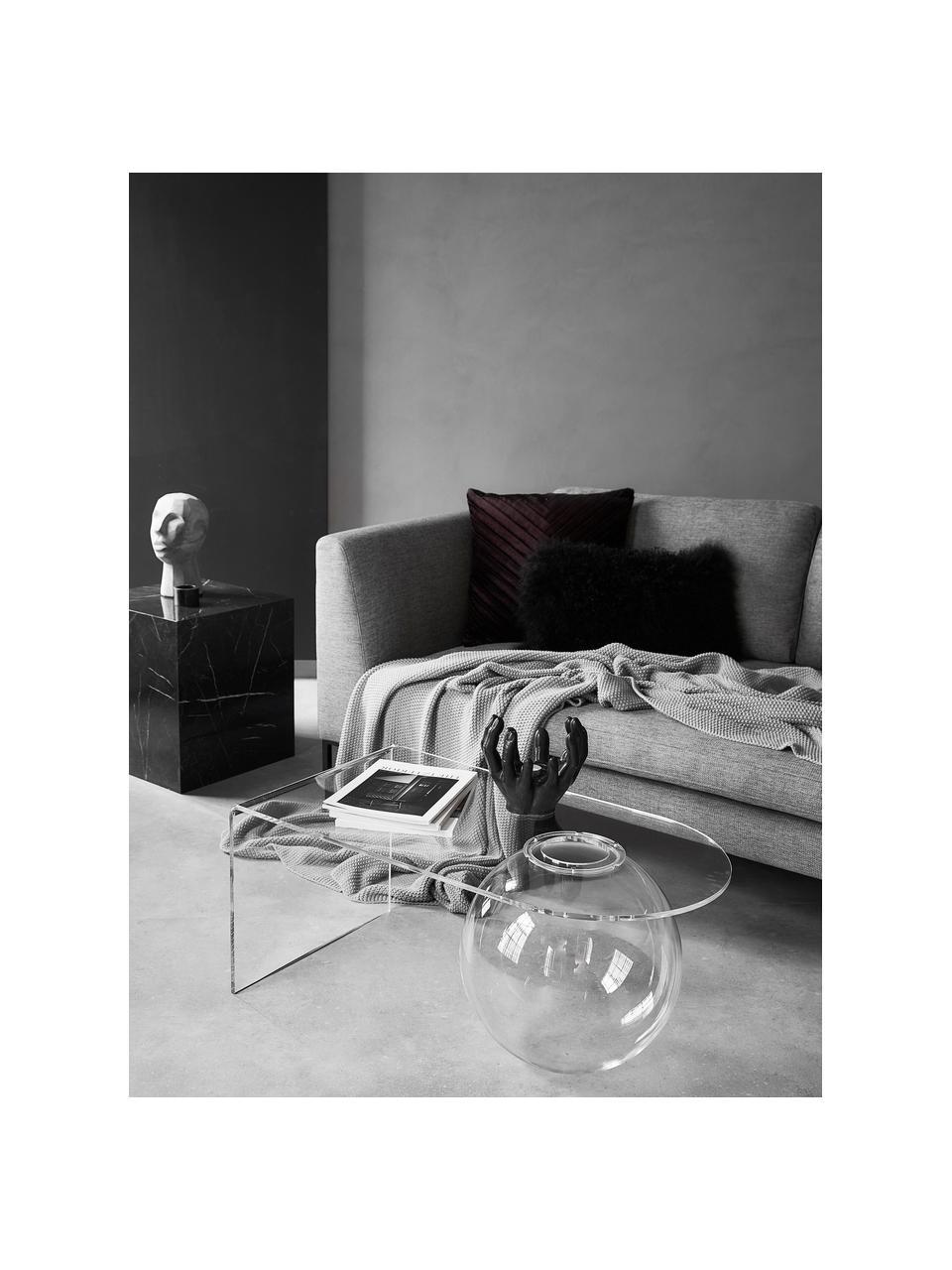 Hoekbank Emma in grijs met metalen poten, Bekleding: polyester, Frame: massief grenenhout, Poten: gepoedercoat metaal, Geweven stof grijs, poten zwart, B 302 x D 220 cm