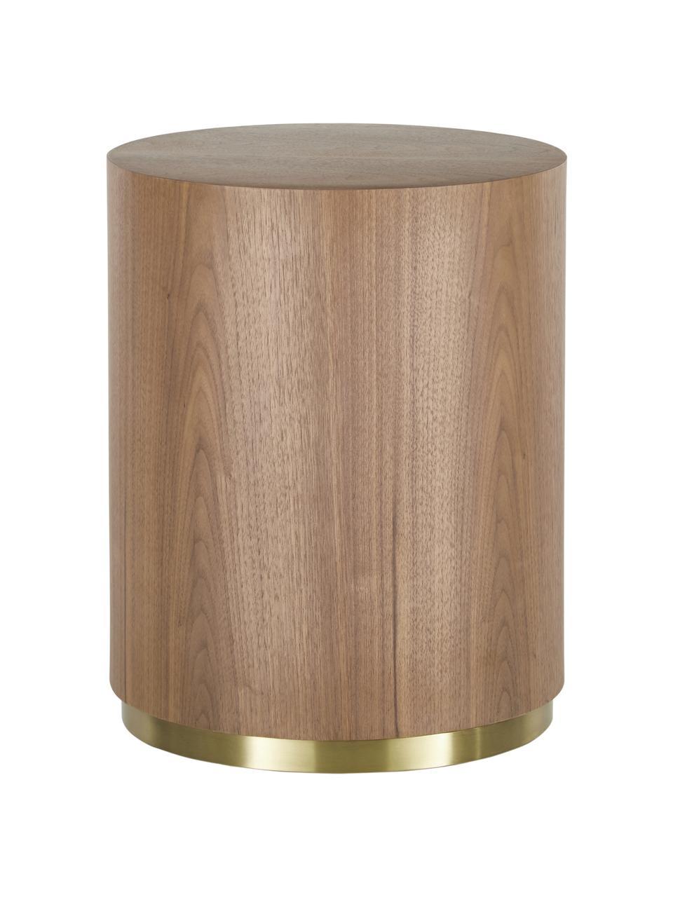 Table d'appoint en bois Clarice, Corps: placage en bois de noyer Pied: couleur dorée, brillant brossé