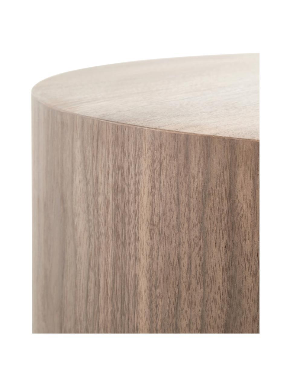 Ronde bijzettafel Clarice in walnootkleur, Frame: MDF met walnoothoutfineer, Voet: gecoat metaal, Walnoothoutfineer, Ø 40 x H 50 cm