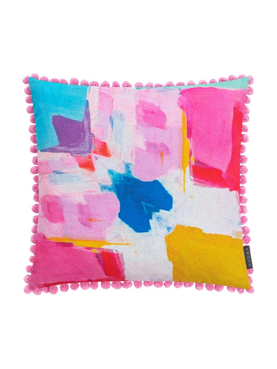 Bunte Kissenhülle Arte mit abstraktem Aquarell Print, Webart: Halbpanama, Pink, Mehrfarbig, 50 x 50 cm