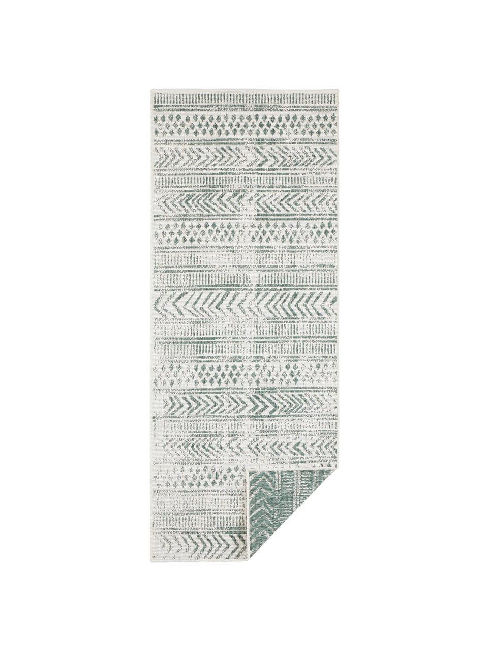 Passatoia reversibile da interno-esterno Biri, Polipropilene, Verde, crema, Larg. 80 x Lung. 350 cm