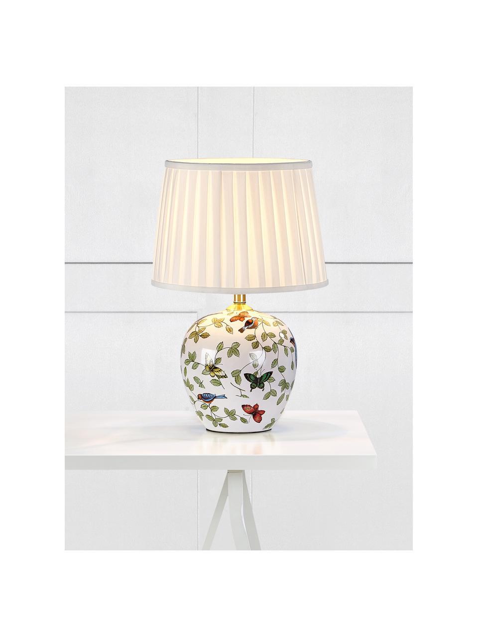 Keramik-Tischlampe Mansion, Lampenschirm: Textil, Lampenfuß: Keramik, Weiß, Mehrfarbig, Ø 31 x H 45 cm