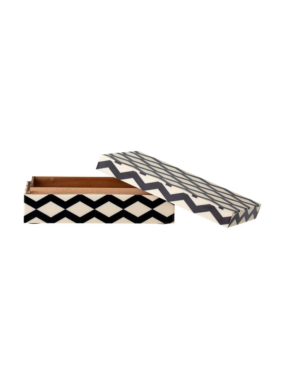 Schmuckbox Jen, Mitteldichte Holzfaserplatte (MDF), Polyresin beschichtet, Schwarz, Cremeweiß, 21 x 7 cm