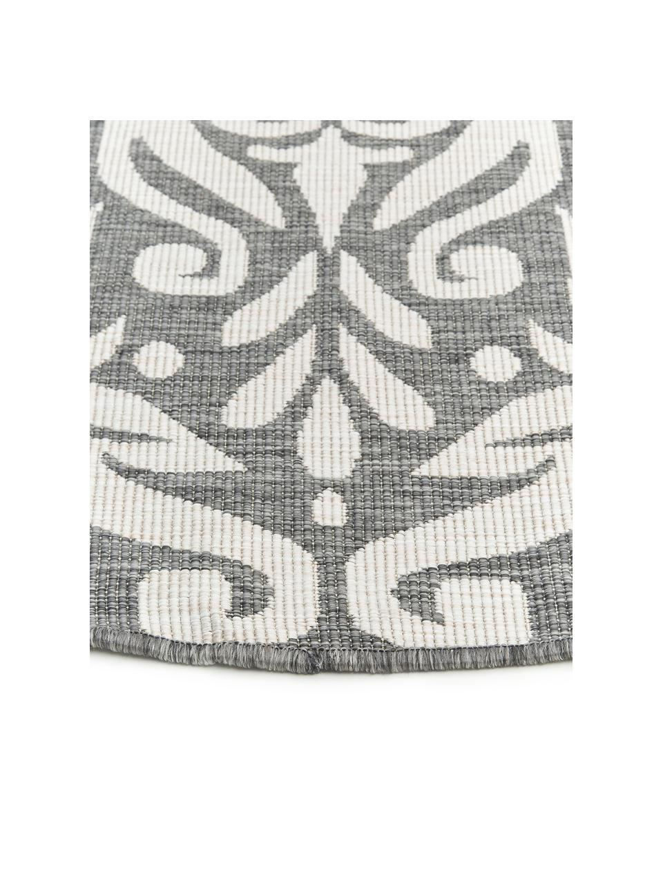 Rond dubbelzijdig in- & outdoor vloerkleed Madrid, Grijs, crèmekleurig, Ø 200 cm (maat L)