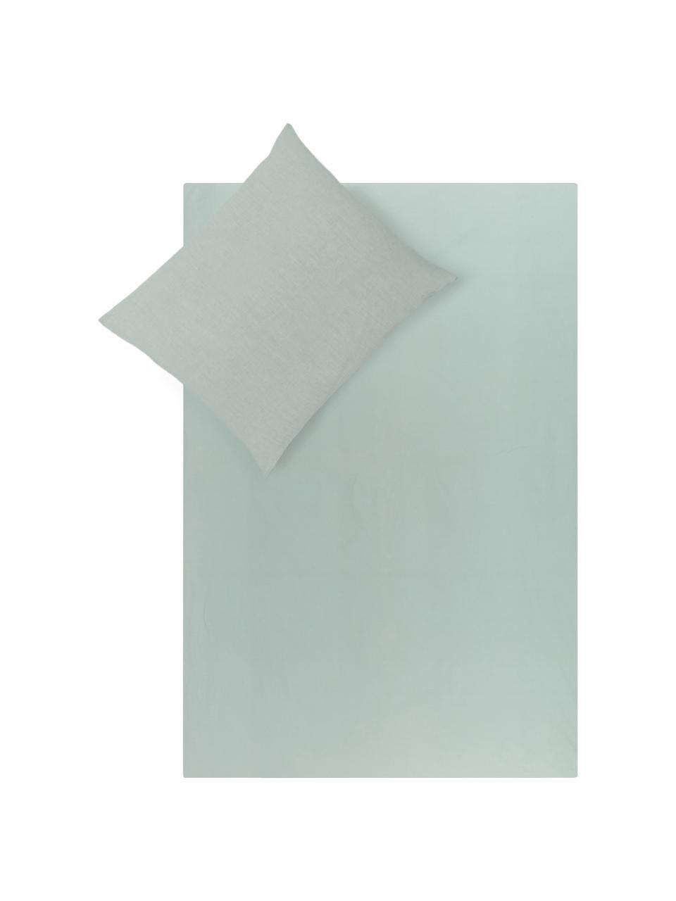 Dubbelzijdige linnen dekbedovertrek Natural met onderzijde van perkal, Bovenzijde: 65% linnen, 35% katoen, Onderzijde: katoen, Weeftechniek: perkal Draaddichtheid 200, Jadegroen, 200 x 220 cm