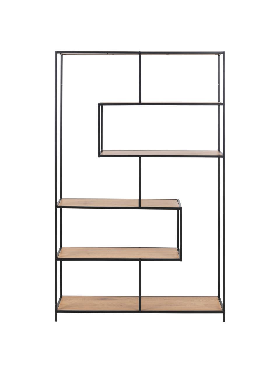 Libreria in legno e metallo Seaford, Ripiani: pannello di fibra a media, Struttura: metallo verniciato a polv, Legno di quercia, nero, Larg. 114 x Alt. 185 cm