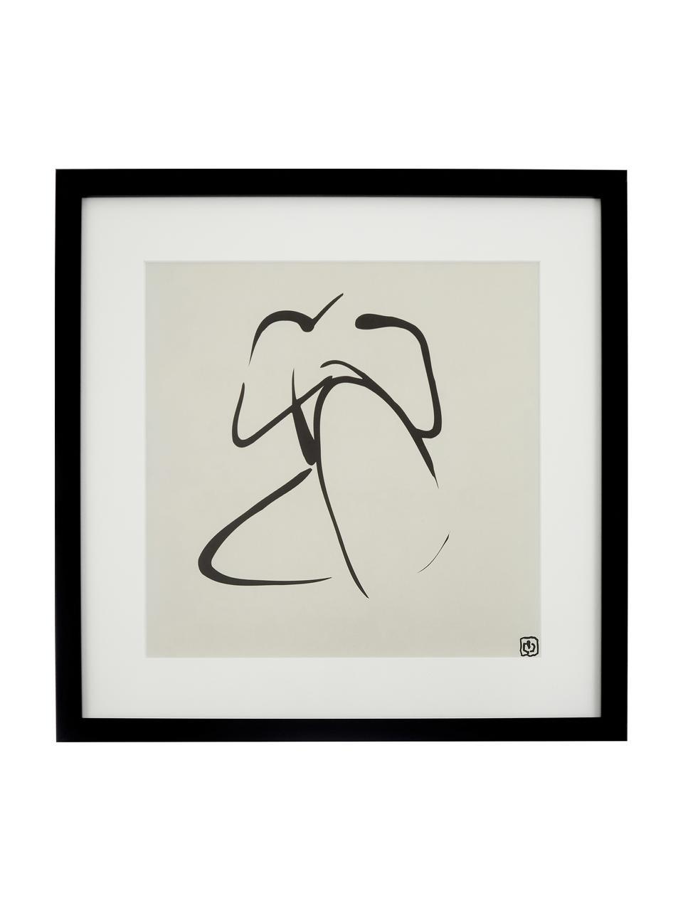 Oprawiony druk cyfrowy Akt Lady III, Stelaż: tworzywo sztuczne, Ilustracja: czarny, beżowy Stelaż: czarny, S 40 x W 40 cm