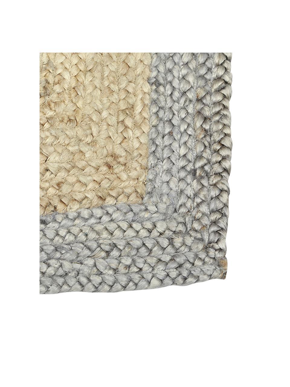 Handgefertigter Jute-Teppich Shanta mit grauem Rand, 100% Jute, Beige, Grau, B 80 x L 150 cm (Größe XS)