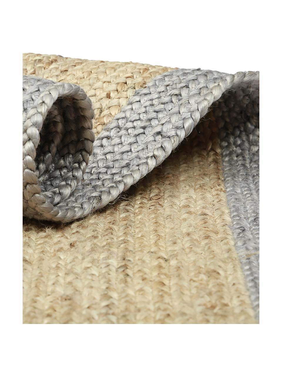Tappeto in juta fatto a mano con bordo grigio Shanta, 100% juta, Beige, grigio, Larg. 80 x Lung. 150 cm (taglia XS)