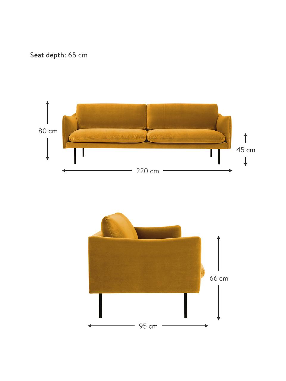 Canapé 3places velours jaune moutarde Moby, Velours jaune moutarde