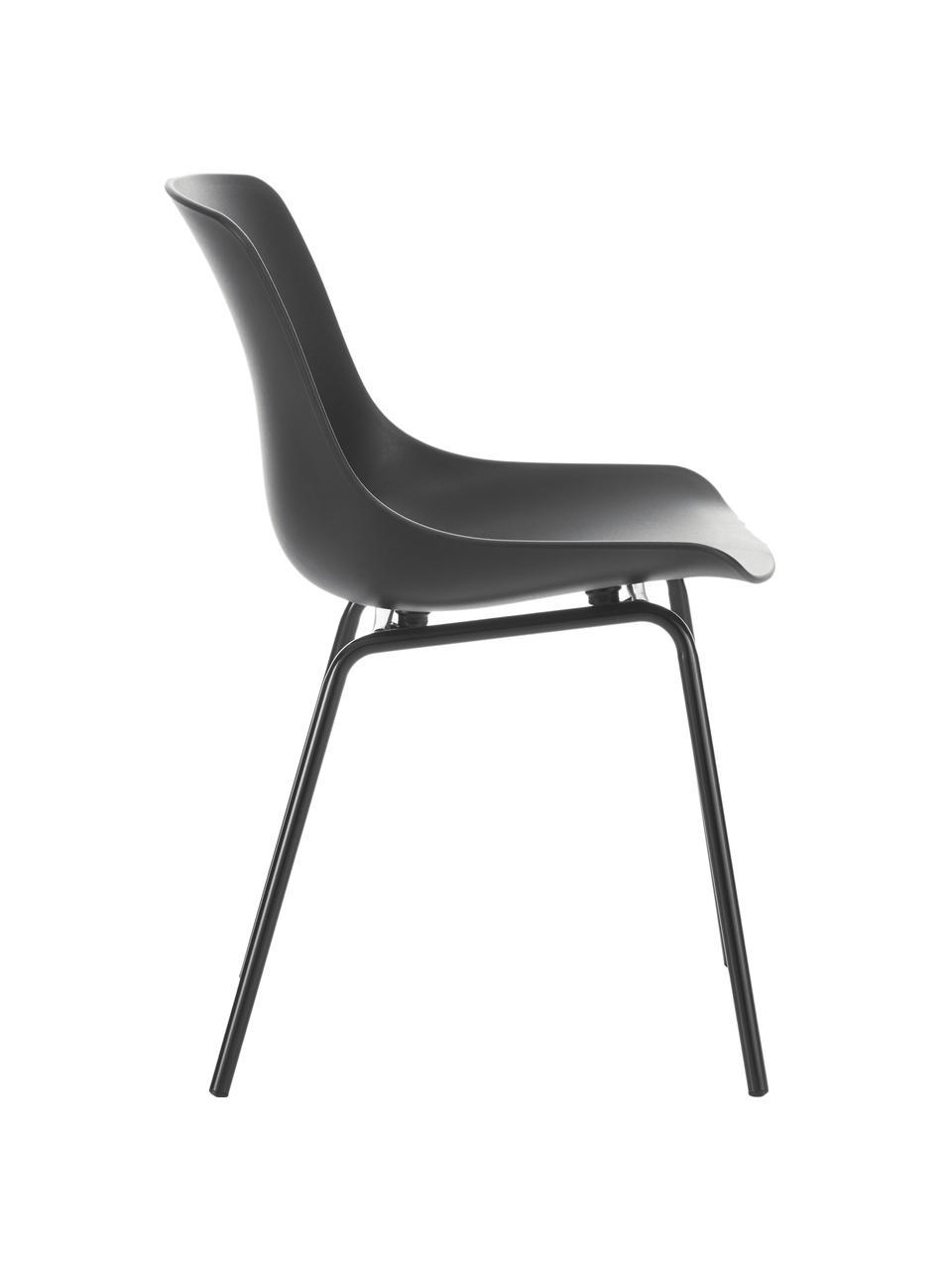 Kunststoffstühle Dave mit Metallbeinen in Schwarz, 2 Stück, Sitzfläche: Kunststoff, Beine: Metall, pulverbeschichtet, Schwarz, B 46 x T 53 cm