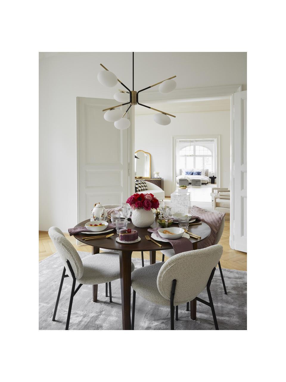 Grote design hanglamp Guna, Baldakijn: gepoedercoat metaal, Mat zwart. Lampframe: messingkleurig, mat, Ø 70 cm