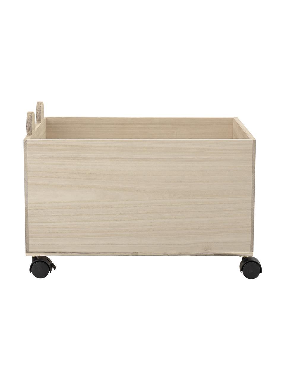 Aufbewahrungsbox Biber, Paulowniaholz, Mitteldichte Holzfaserplatte (MDF), Grau, Hellbraun, 35 x 31 cm