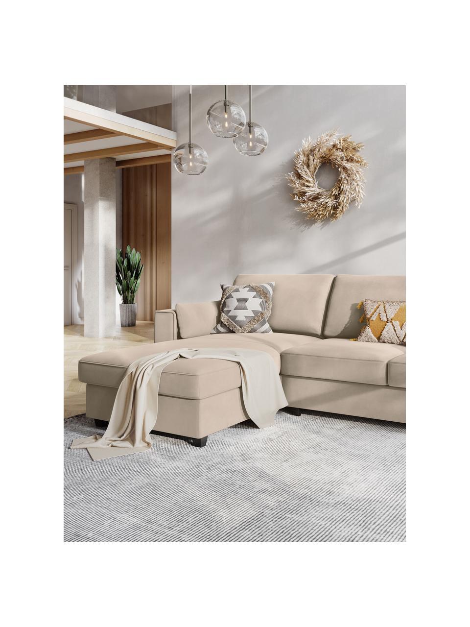 Sofa narożna z aksamitu z funkcją spania i miejscem do przechowywania Susa (4-osobowa), Nogi: drewno, Jasny beżowy, S 250 x G 166 cm