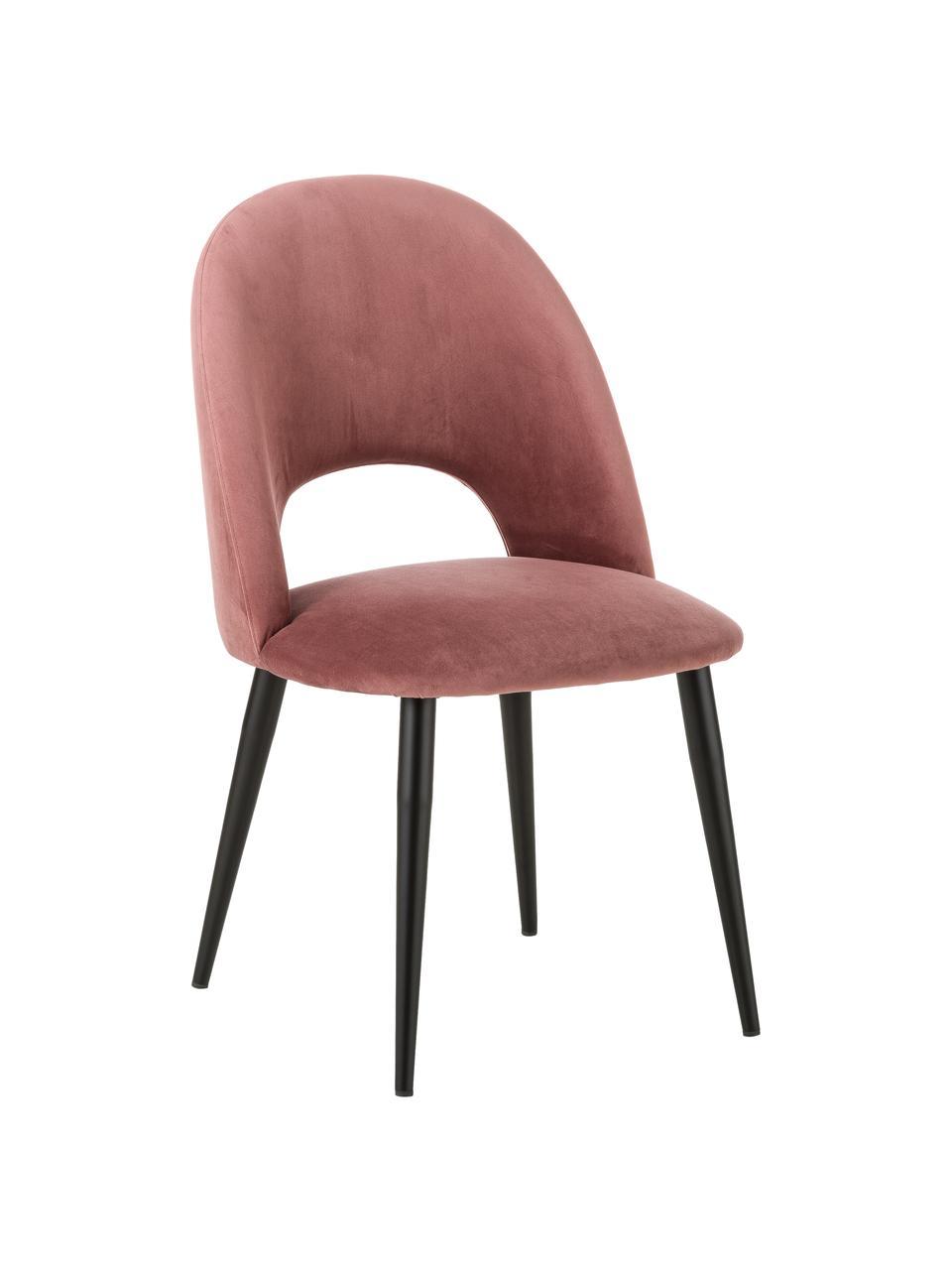Sedia imbottita in velluto rosa cipria Rachel, Rivestimento: velluto (rivestimento in , Gambe: metallo verniciato a polv, Velluto rosa cipria, Larg. 53 x Prof. 57 cm