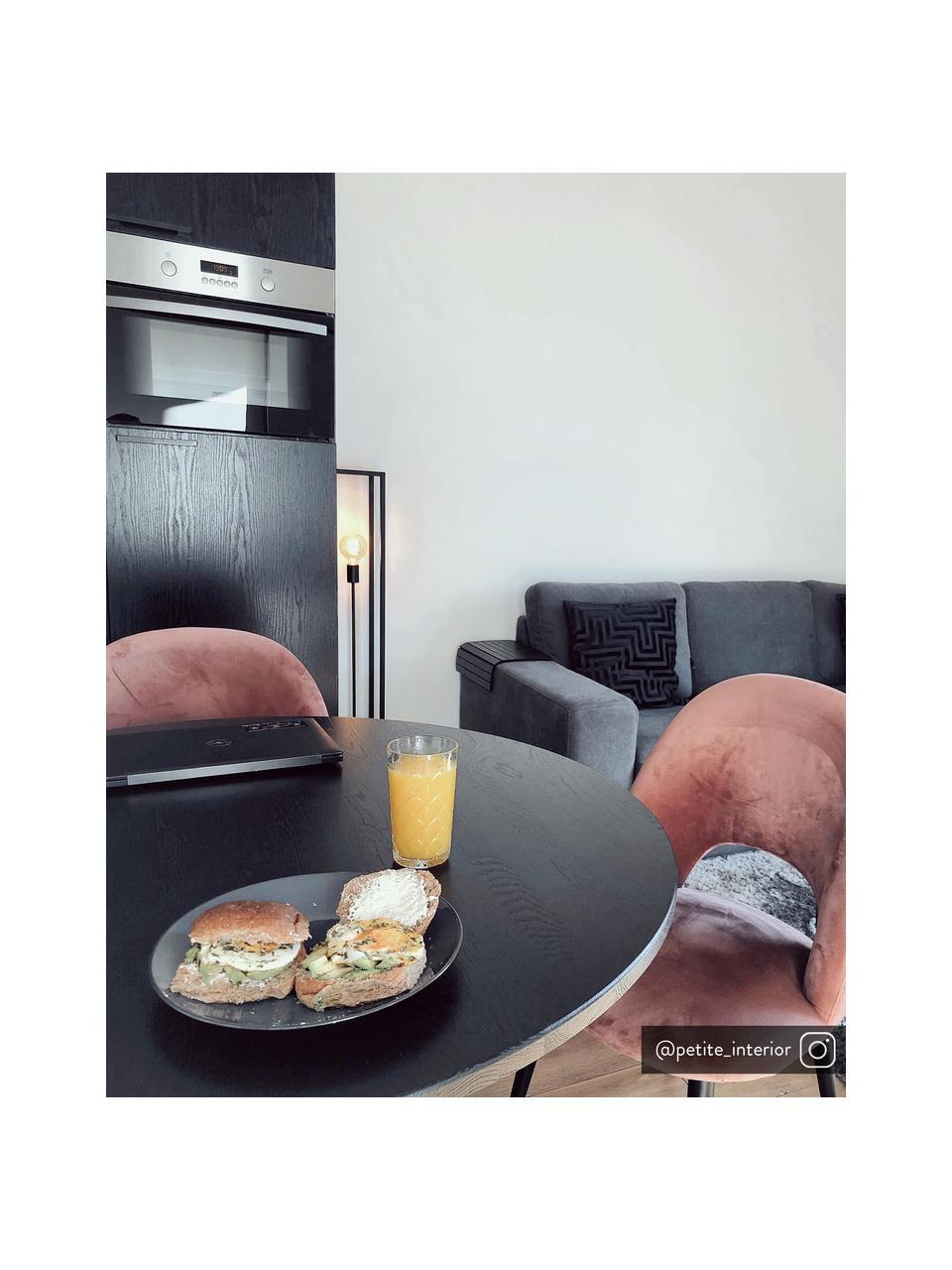 Krzesło tapicerowane z aksamitu Rachel, Tapicerka: aksamit (poliester) Dzięk, Nogi: metal malowany proszkowo, Aksamitny brudny różowy, S 53 x G 57 cm