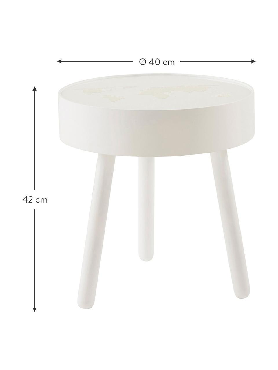 Table ronde bois blanc avec éclairage LED intégré Monroy, Blanc