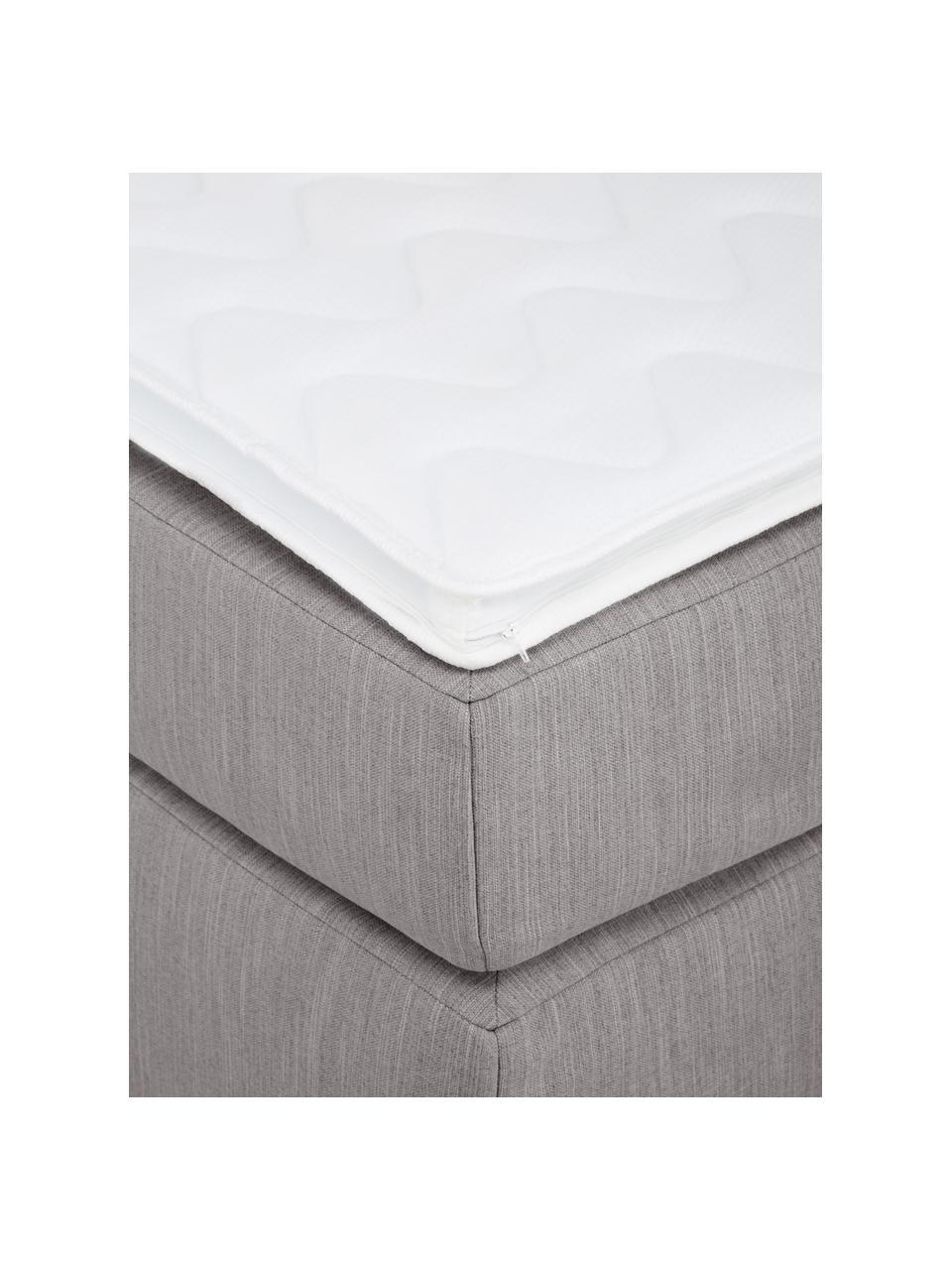 Letto boxspring in tessuto grigio scuro Aries, Materasso: nucleo a 5 zone di molle , Piedini: plastica, Tessuto grigio scuro, 200 x 200 cm