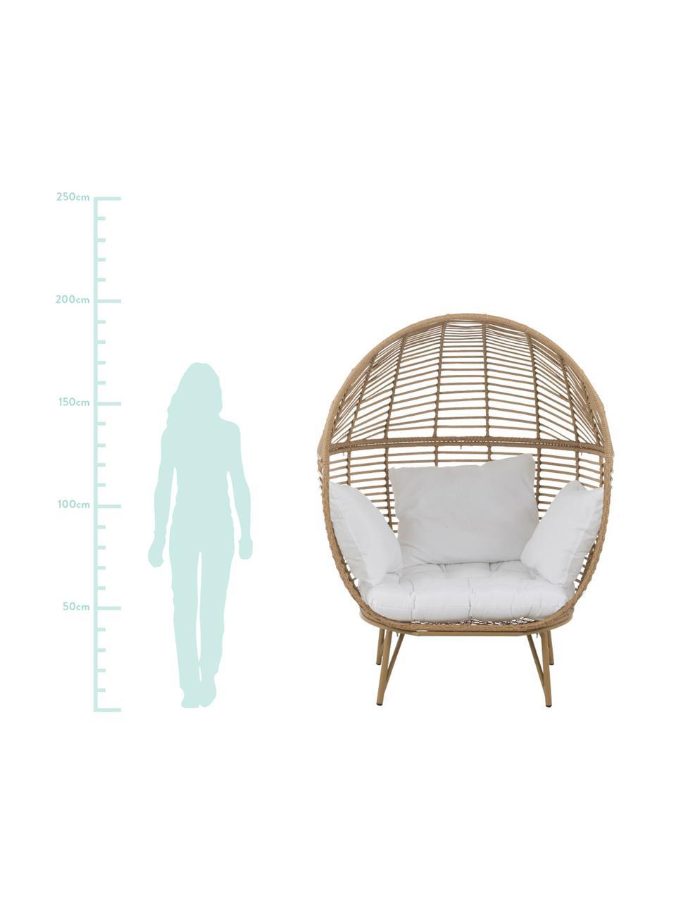 Korbsessel Oval aus Rattan, Braun, Weiß, 115 x 148 cm