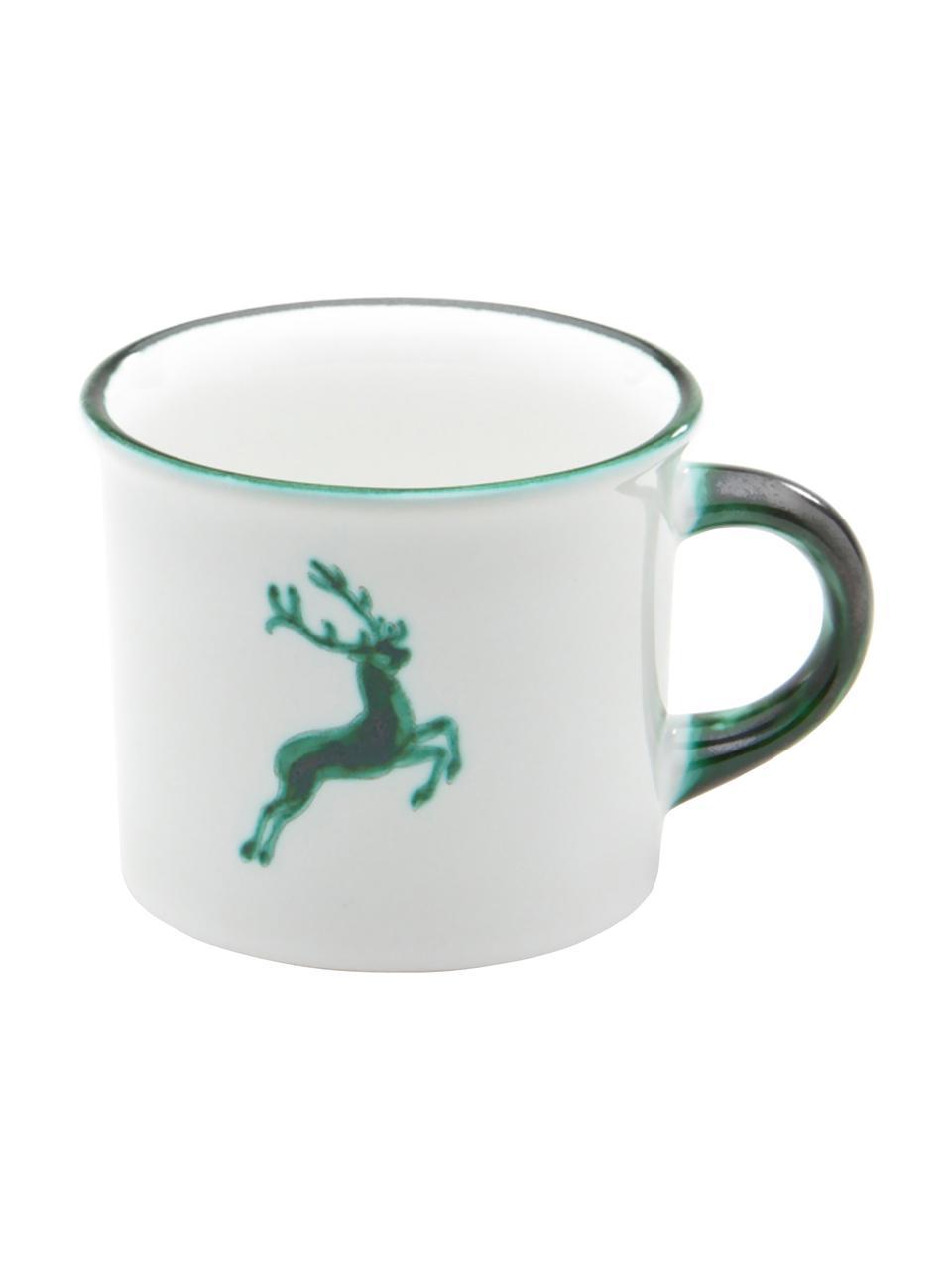 Handbemaltes Kaffeehaferl Grüner Hirsch, Keramik, Grün,Weiß, 240 ml