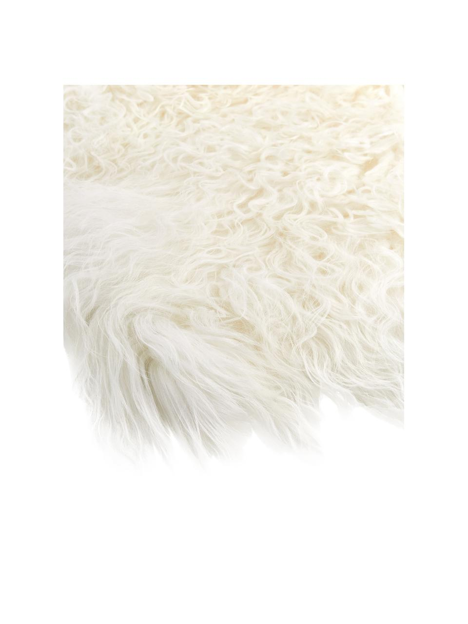 Langhaar-Lammfell Ella, gelockt, Vorderseite: 100% mongolisches Lammfel, Rückseite: 100% Leder, Weiß, 50 x 80 cm
