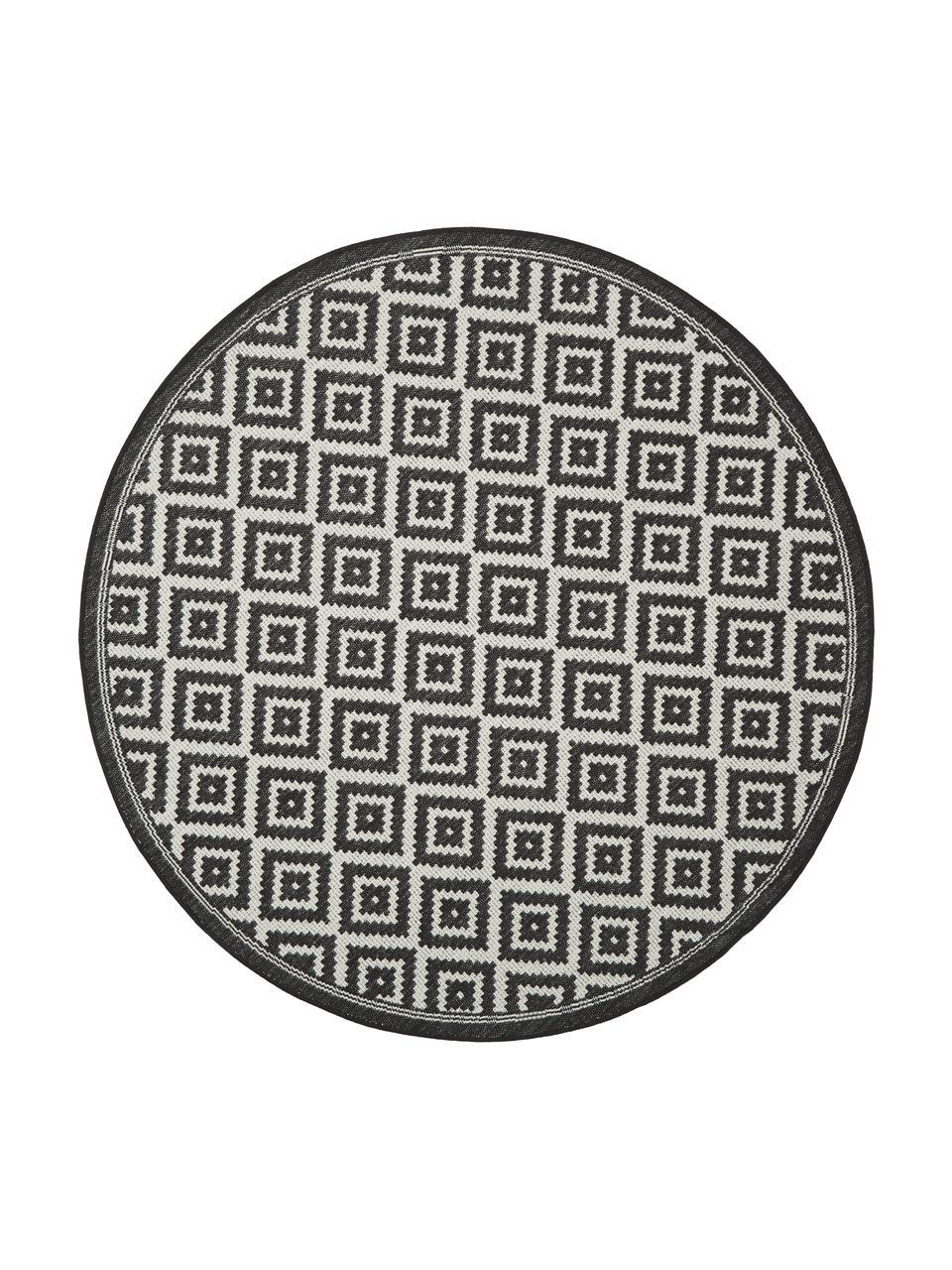 Tappeto rotondo nero/bianco da interno-esterno Miami, 86% polipropilene, 14% poliestere, Bianco, nero, Ø 200 cm (taglia L)