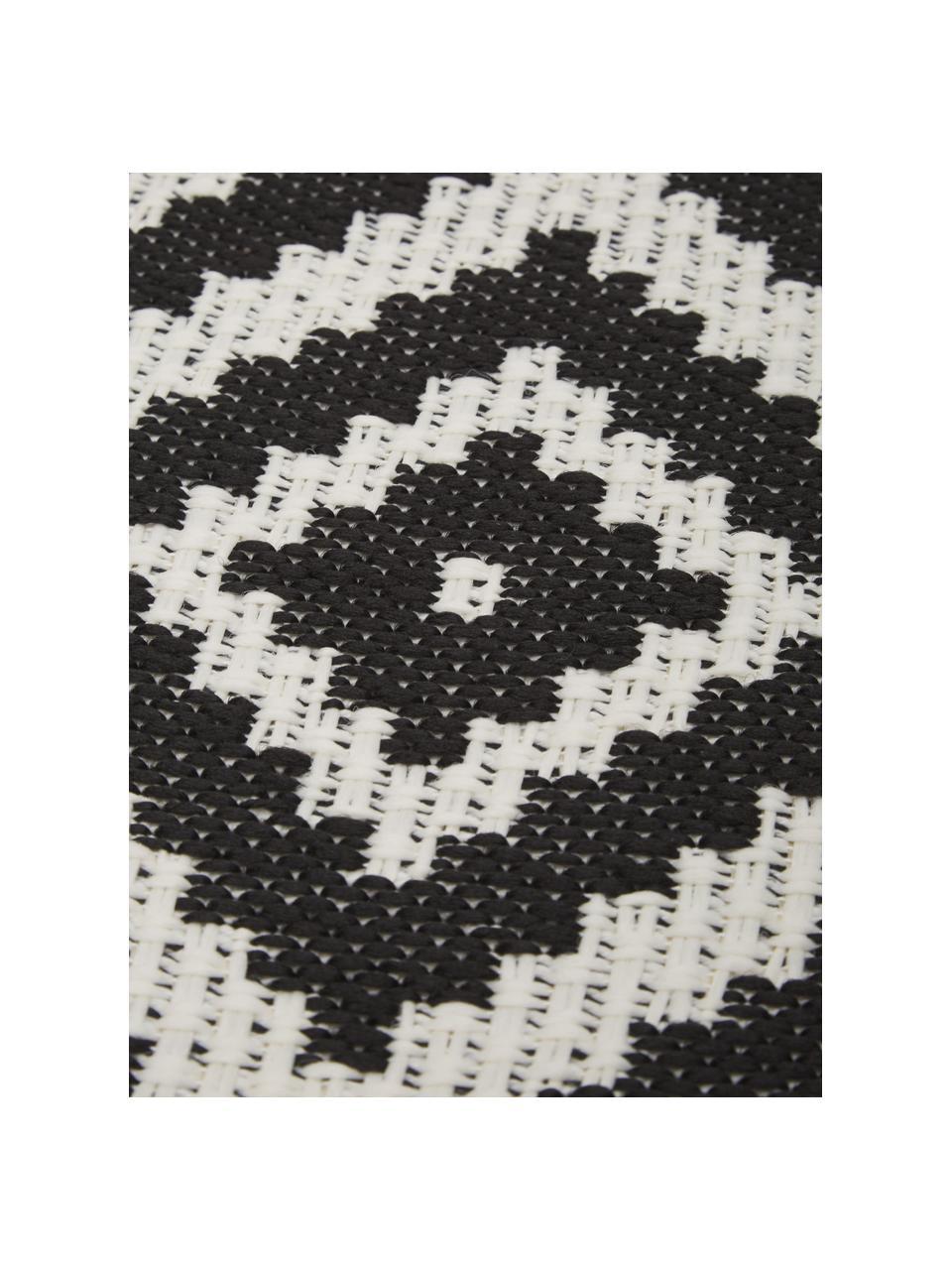 Okrągły dywan wewnętrzny/zewnętrzny Miami, 86% polipropylen, 14% poliester, Biały, czarny, Ø 200 cm (Rozmiar L)