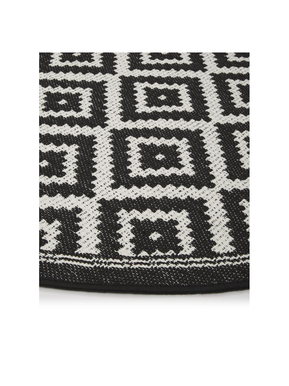 Rond in- en outdoor vloerkleed met patroon Miami in zwart/wit, 86% polypropyleen, 14% polyester, Wit, zwart, Ø 200 cm (maat L)