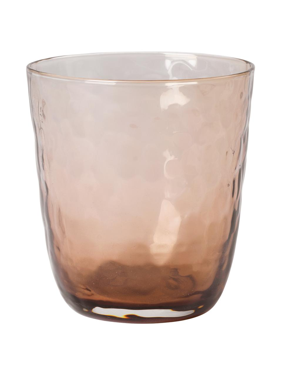 Bicchiere acqua in vetro soffiato irregolare Hammered 4 pz, Vetro, Marrone, Ø 9 x Alt. 14 cm