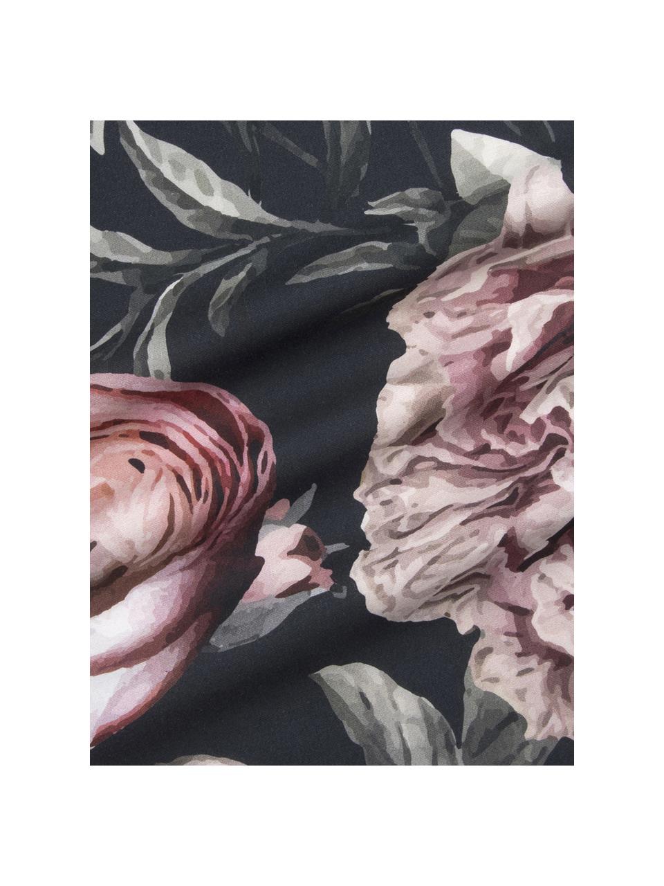 Baumwollsatin-Kopfkissenbezüge Blossom mit Blumen-Print, 2 Stück, Webart: Satin Fadendichte 210 TC,, Mehrfarbig, Schwarz, 40 x 80 cm