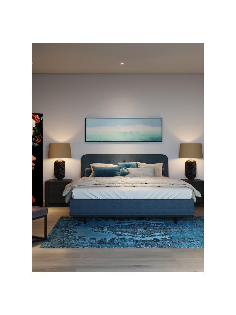 Polsterbett Luna in Blau, Korpus: Massives Buchenholz, lack, Bezug: 100% Polyester, Füße: Massives Buchenholz, lack, Webstoff Blau, 180 x 200 cm