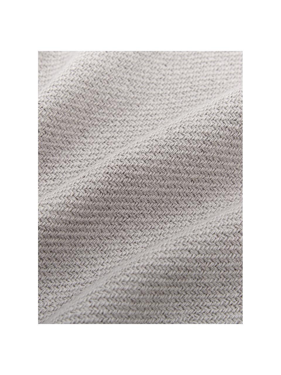 Einfarbige Baumwolldecke Madison in Hellgrau mit Fransenabschluss, 100% Baumwolle, Hellgrau, 140 x 170 cm