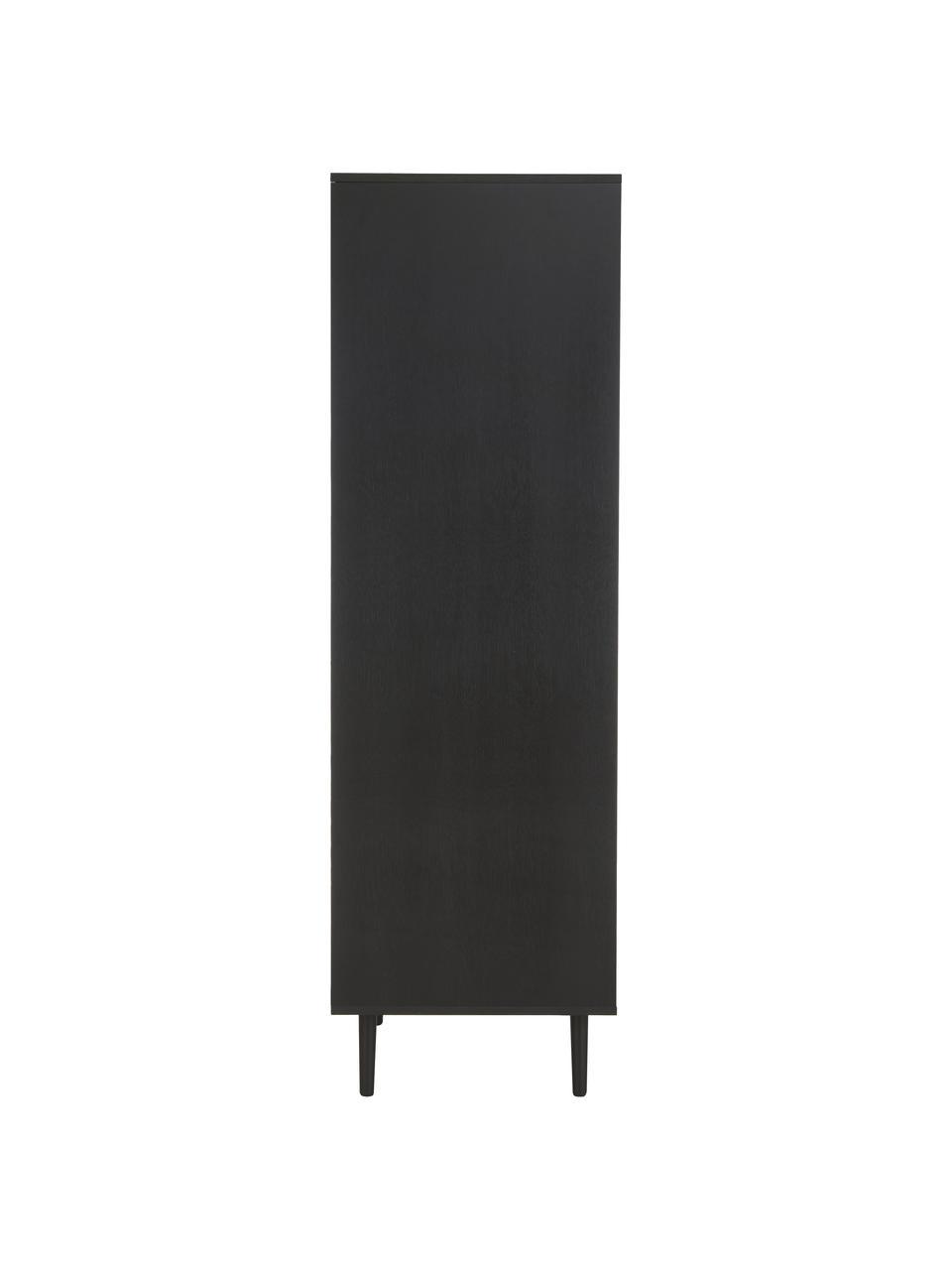 Kledingkast Aries in zwart, Frame: spaanplaat met eikenhoutf, Poten: massief eikenhout, Zwart, 100 x 194 cm