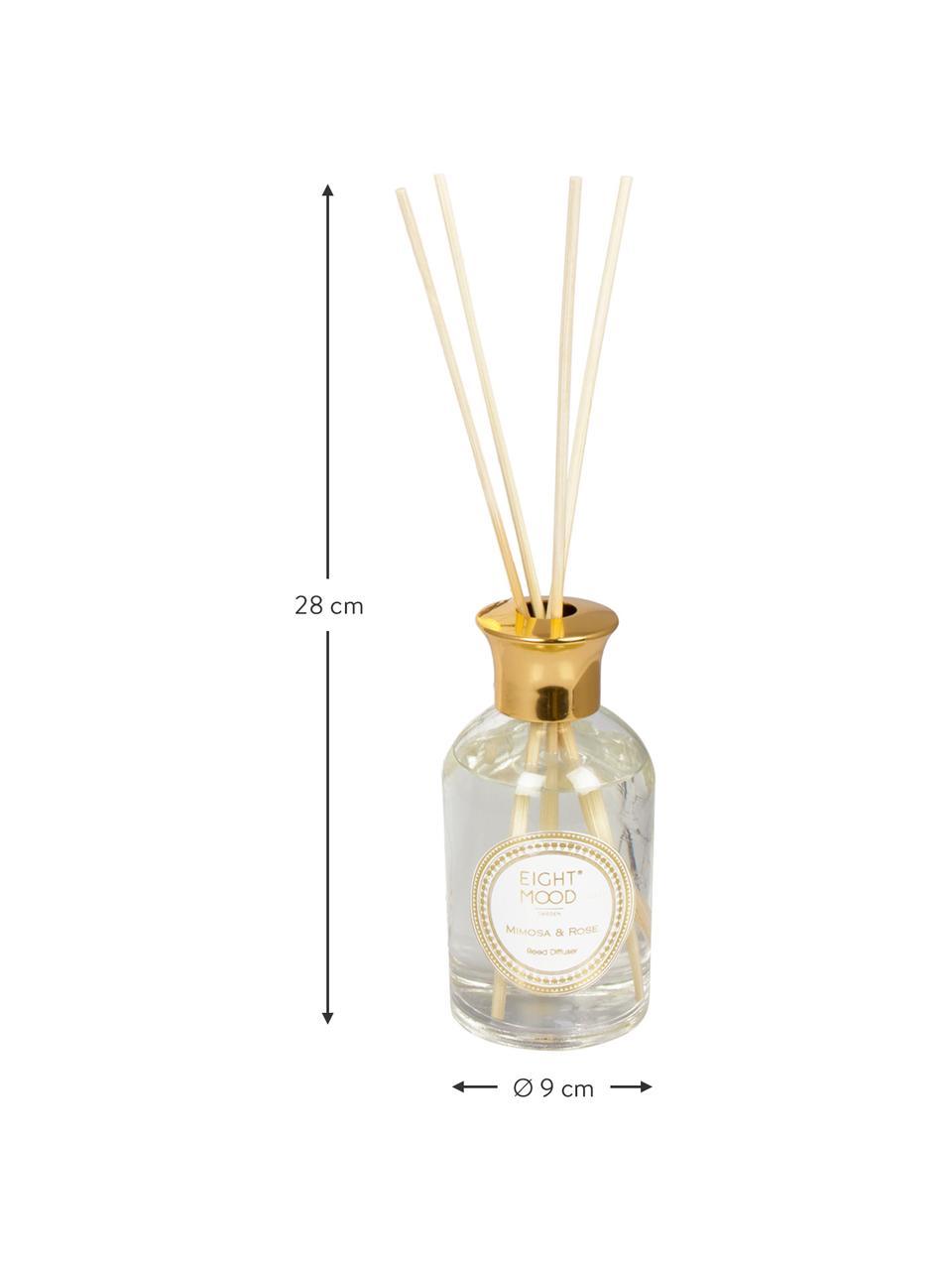 Dyfuzor zapachowy White Marble (mimoza, róża), Dyfuzor: transparentny Pokrywka: odcienie złotego Pałeczki: drewno naturalne, Ø 9 x W 28 cm