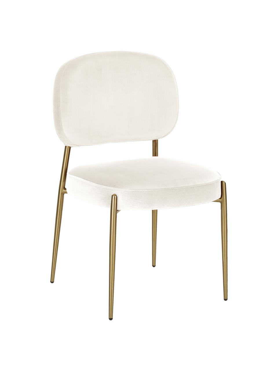Fluwelen stoel Viggo, Bekleding: fluweel (polyester), Fluweel beige, poten goudkleurig, B 49 x D 66 cm