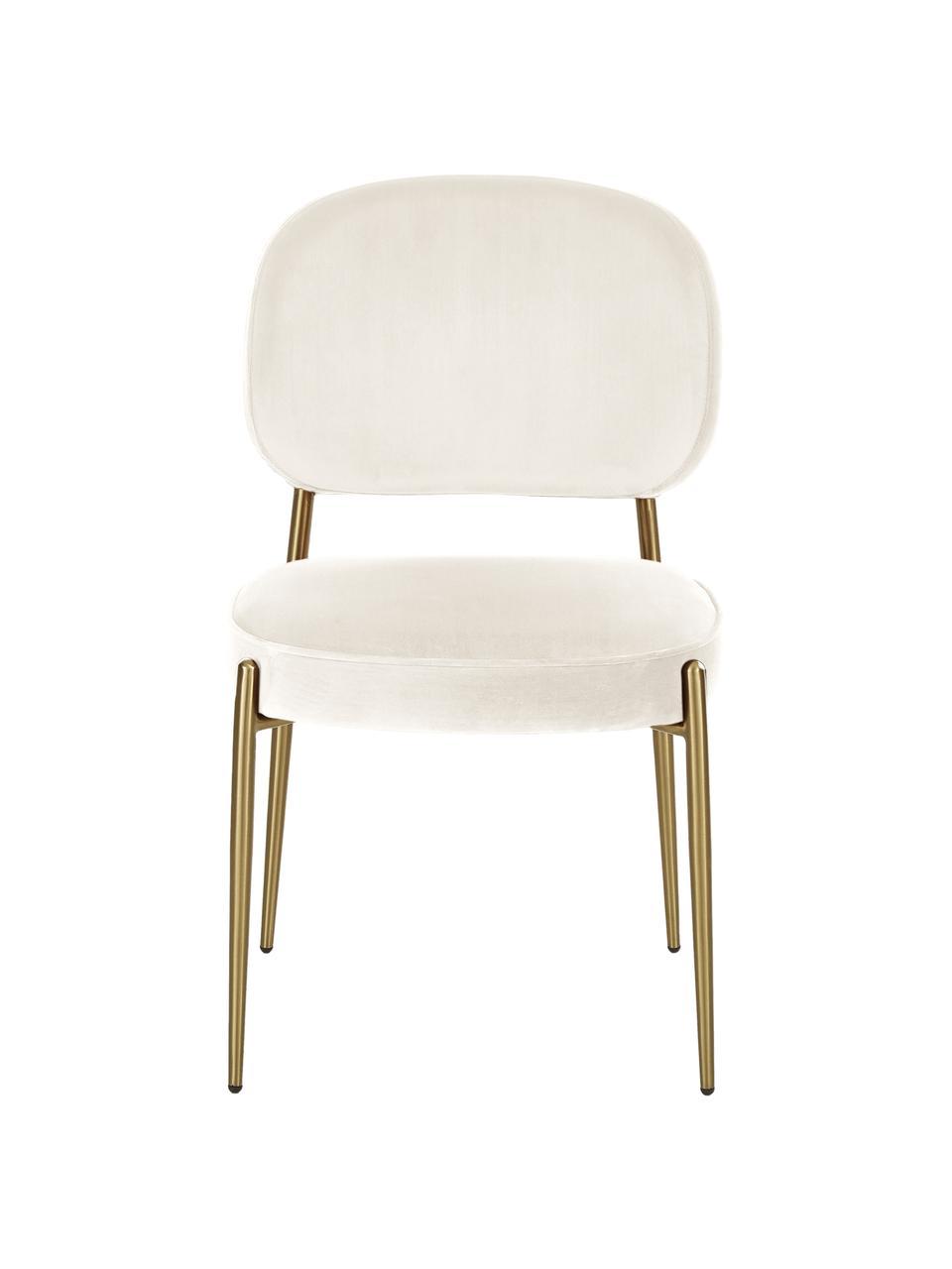 Krzesło tapicerowane z aksamitu Viggo, Tapicerka: aksamit (poliester) Dzięk, Aksamitny beżowy, nogi: złoty, S 49 x G 66 cm