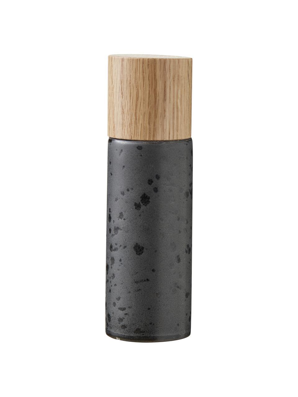 Steingut Salz- und Pfeffermühle Bizz mit Holzdeckel, 2er-Set, Deckel: Eichenholz, Mahlwerk: Keramik, Schwarz, Beige, Holz, Ø 5 x H 17 cm