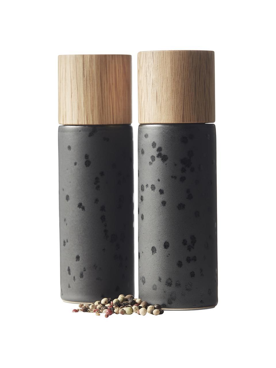 Keramiek zout- en pepermolen Bizz met houten deksel, 2-delig, Deksel: eikenhout, Zwart, beige, Ø 5 x H 17 cm