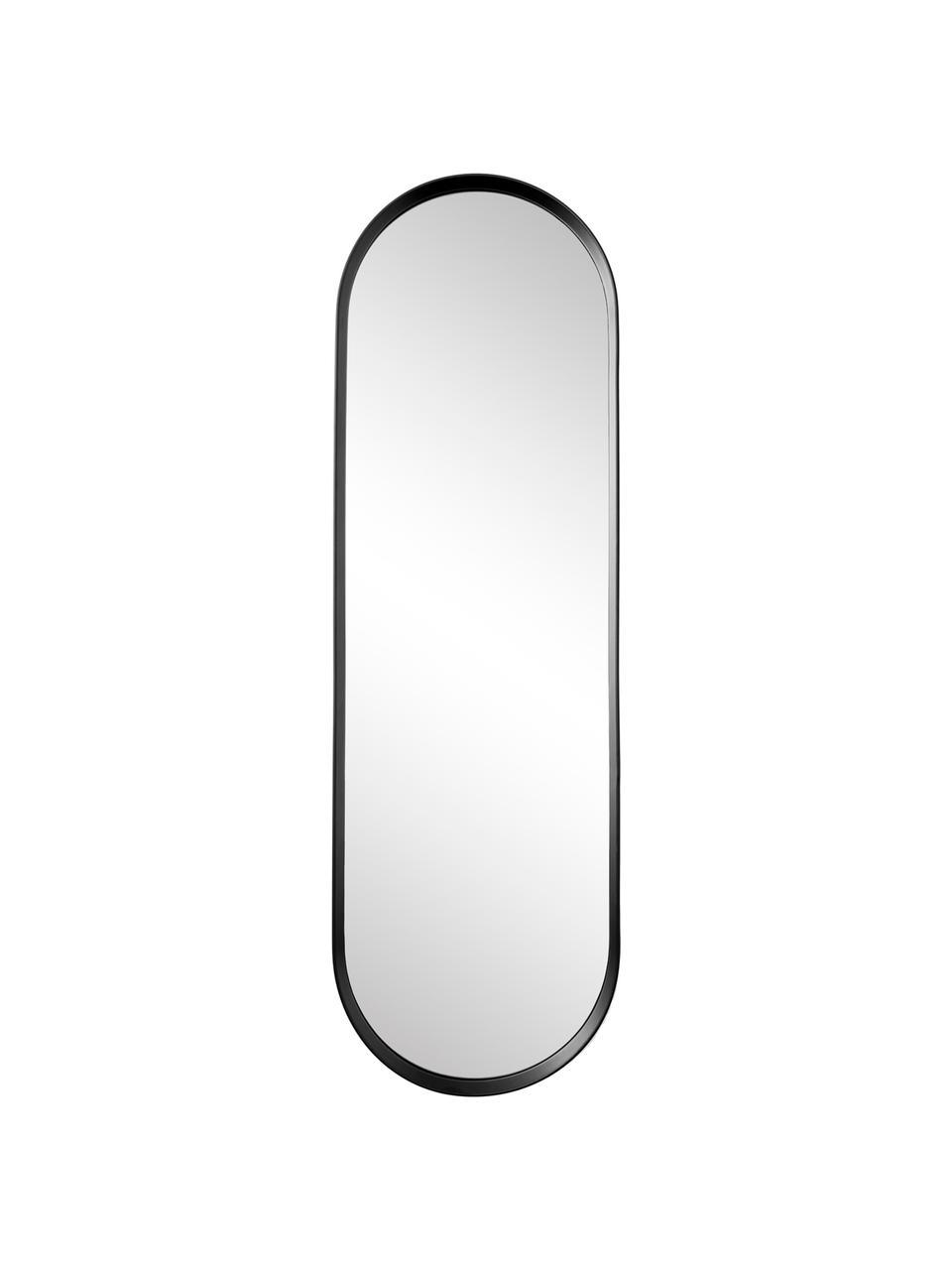 Specchio da parete ovale Norm, Cornice: alluminio verniciato a po, Superficie dello specchio: lastra di vetro, Nero, Larg. 40 x Alt. 130 cm