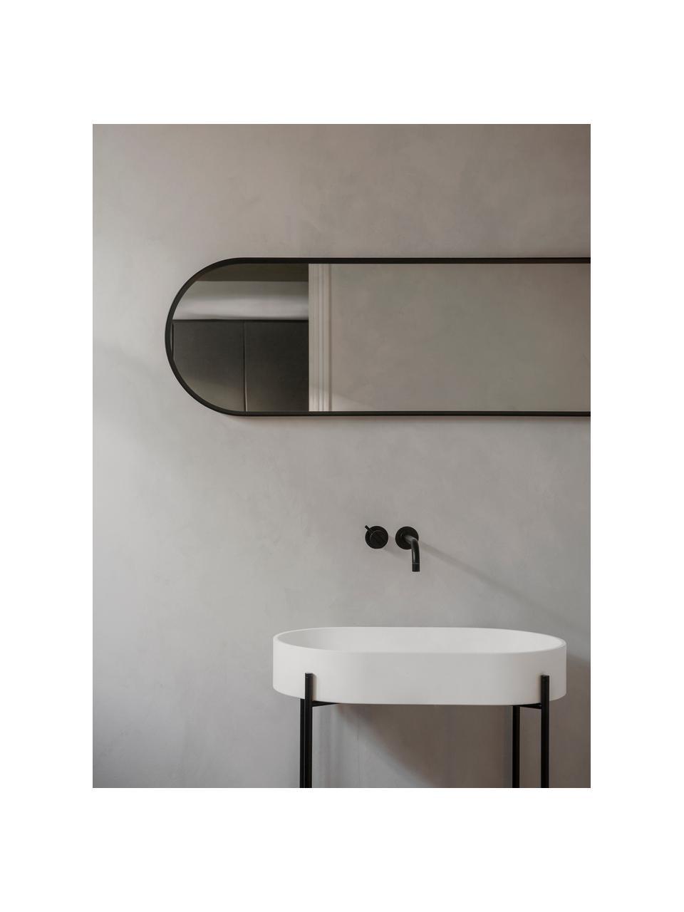 Ovaler Wandspiegel Norm mit schwarzem Aluminiumrahmen, Rahmen: Aluminium, pulverbeschich, Spiegelfläche: Spiegelglas, Schwarz, 40 x 130 cm