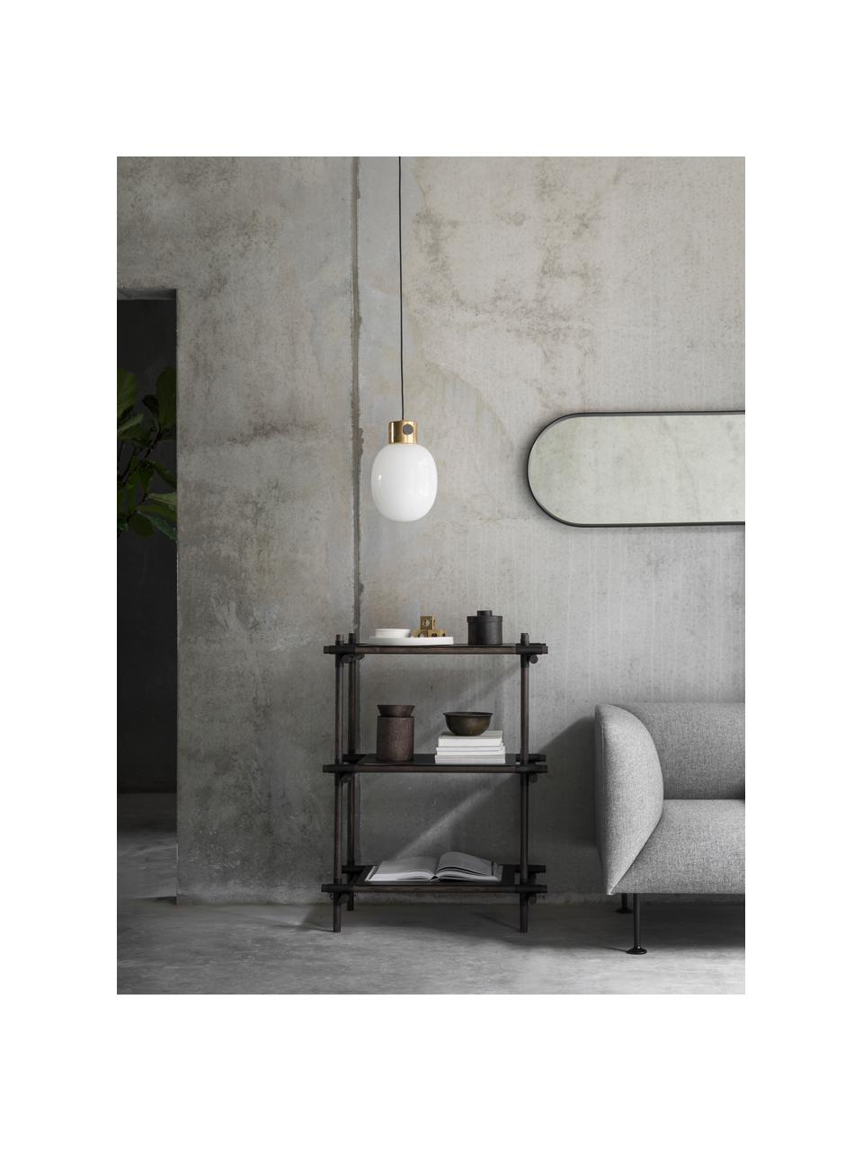 Ovaler Wandspiegel Norm mit schwarzem Alurahmen, Rahmen: Aluminium, pulverbeschich, Spiegelfläche: Spiegelglas, Schwarz, 40 x 130 cm